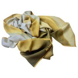 Jil Sander-Écharpe en soie, foulard léger avec logo-Beige