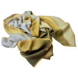 Jil Sander-Silk scarf, light scarf with logo-Beige