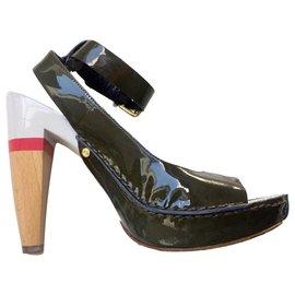 Céline-Céline open patent leather sandals-Pink,White,Khaki