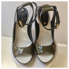 Céline-Céline open patent leather sandals-Pink,White,Khaki