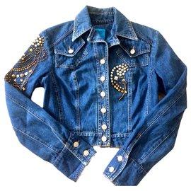 Christian Lacroix-veste courte en jean avec boutons-Bleu