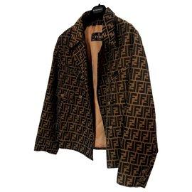 Fendi-Manteaux, Vêtements d'extérieur-Marron,Noir