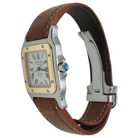 """Cartier-Cartier """"Santos"""" watch in yellow gold and steel on leather.-Other"""