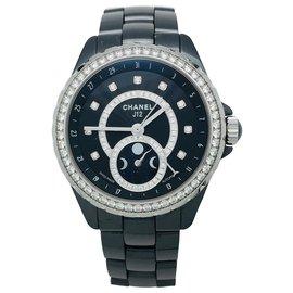 """Chanel-Montre Chanel """"J12 Phase de Lune"""" en céramique noire et acier, diamants.-Autre"""