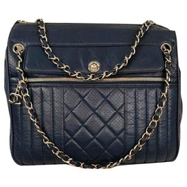 Chanel-Shopping-Blue,Navy blue