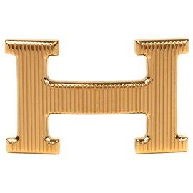 """Hermès-Boucle de ceinture Hermès """"Calandre"""" doré brillant, état neuf !-Doré"""