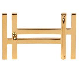 Hermès-Boucle de ceinture Hermès H2 en acier doré brillant, état neuf !-Doré