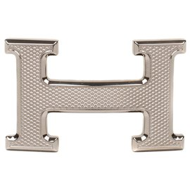 "Hermès-Superb Hermès belt buckle model ""Guillochee"", new condition!-Silvery"