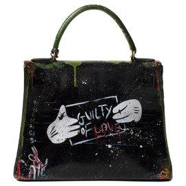 """Hermès-Superbe Hermès Kelly 28 en cuir box noir revisité par l'artiste Darya intitulé """"Guilty of love"""" !-Noir,Vert"""