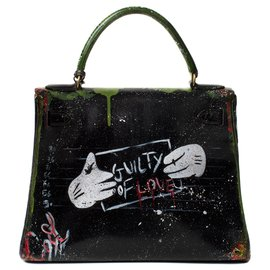 "Hermès-Superb Hermes Kelly 28 black box leather revisited by artist DARYA entitled ""Guilty of love""!-Black,Green"