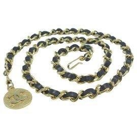 Chanel-Chain belt with medallion-Black,Golden