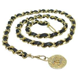Chanel-Ceinture chaine avec médaillon-Noir,Doré