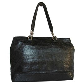 Céline-Celine Patent Leather Shoulder Bag Handbag-Black