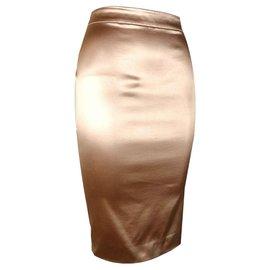 Dior-Jupe drapée mi-longue-Doré