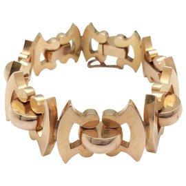 inconnue-Bracelet maille fantaisie en or rose, style 1940.-Autre