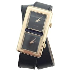 """Chopard-Chopard """"Dualtime"""" watch in yellow gold on leather.-Other"""