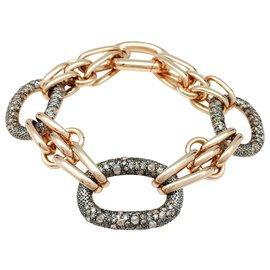 """Pomellato-Bracelet Pomellato, modèle """"Tango"""" en or rose, argent et diamants bruns.-Autre"""