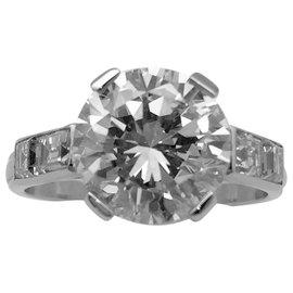 inconnue-Solitaire en or platine, diamant 3,31 carats F/VVS1.-Autre