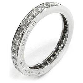 Cartier-Bague alliance Cartier en platine, diamants taille princesse.-Autre
