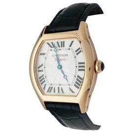 """Cartier-Montre Cartier modèle """"Tortue"""" en or rose sur cuir.-Autre"""
