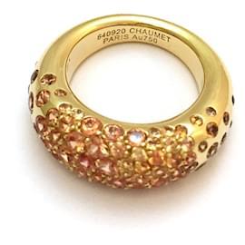"""Chaumet-Bague Chaumet modèle """"Caviar"""" en or jaune, saphirs oranges.-Autre"""