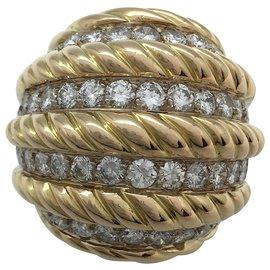 inconnue-Importante bague dôme en or jaune, diamants.-Autre