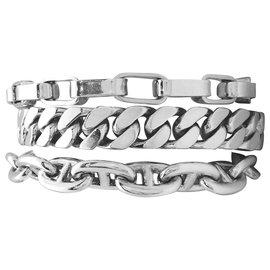 """Hermès-Bracelet Hermès """" Etcetera"""" 3 rangs en argent.-Autre"""