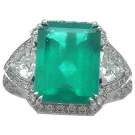 inconnue-Bague en or blanc, émeraude 4,39 carats, diamants.-Autre