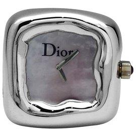 """Dior-Bague montre Dior, modèle """"Nougat"""", en or blanc et nacre.-Autre"""