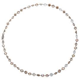 inconnue-Collier en platine, diamants blancs et cognacs.-Autre