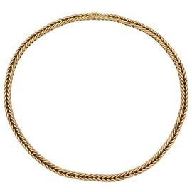 Hermès-Collier Hermès en or jaune, maille colonne.-Autre