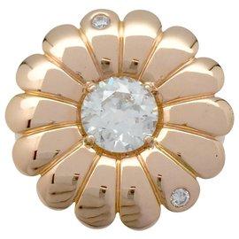 inconnue-Bague Marguerite en or rose, diamants.-Autre