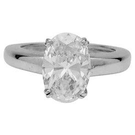 inconnue-Bague jonc en or blanc, diamant ovale 2,29 cts, H/SI1-Autre
