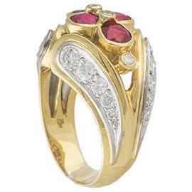 Kutchinsky-Bague en or jaune Kutchinsky, rubis et diamants.-Autre