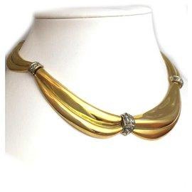 """inconnue-Collier """"drapé"""" en or jaune, diamants taille ancienne.-Autre"""