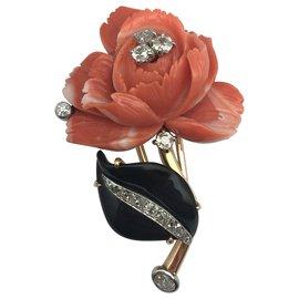 """inconnue-Broche """"Rose"""" en or jaune, corail, onyx et diamants.-Autre"""