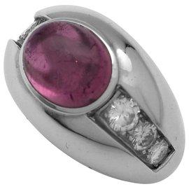 inconnue-Bague en or blanc, tourmaline rose et diamants.-Autre