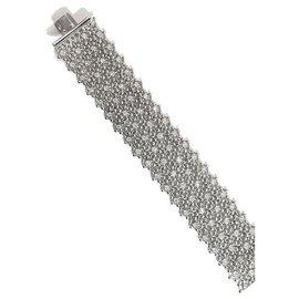 inconnue-Bracelet manchette souple en or blanc, diamants.-Autre