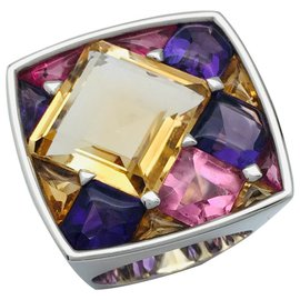 """Chanel-Chanel ring """"Quilted"""" white gold, citrines, tourmalines and amethysts.-Other"""