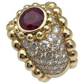 Chanel-Bague Chanel en or jaune, rubis et diamants-Autre