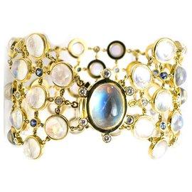 """Temple St Clair-Bracelet en or jaune Temple St Clair """"Rainbow Moonstone"""", pierres de lune, diamants et saphirs.-Autre"""