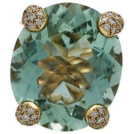 """Dior-Bague Christian Dior """"Miss Dior"""" en or jaune, béryl vert et diamants.-Autre"""
