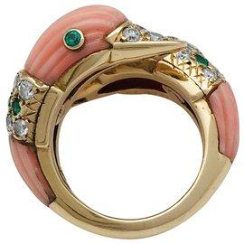"""Van Cleef & Arpels-Bague Toi et Moi """"Canards"""" Van Cleef & Arpels en or jaune, corail, émeraudes et diamants.-Autre"""