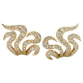 """H Stern-Boucles d'oreilles Stern modèle """"Iris Pompylius"""" en or rose, diamants.-Autre"""