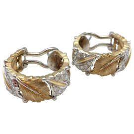 Buccellati-Boucles d'oreilles Mario Buccellati en ors jaune et blanc, diamants.-Autre
