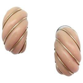 inconnue-Boucles d'oreilles en or jaune et corail rose.-Autre