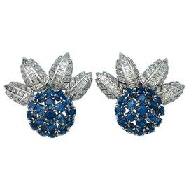 inconnue-Boucles d'oreilles en or blanc, saphirs et diamants.-Autre