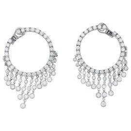inconnue-Boucles d'oreilles créoles en or blanc, diamants.-Autre