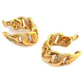 """Cartier-Boucles d'oreilles Cartier, modèle """"Bergame"""" en or jaune, diamants.-Autre"""