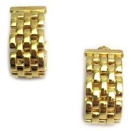 Cartier-Boucles d'oreilles Cartier maille panthère en or jaune.-Autre